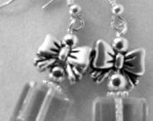 Present Earrings Clear Crystal Square Packages with a Silver Plated Bow - JewelryByDebby