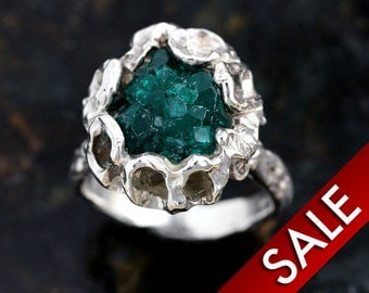 Green Crystal Citrine Solid Sterling Silver Ring  -Size 7