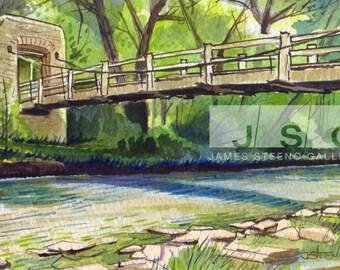 Hoyt Park Bridge Wauwatosa Watercolor Print (8x10)