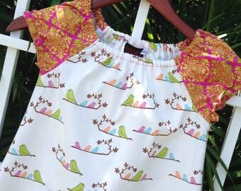 Girls A Line Dress Peasant Dress Handmade MammaBird 6mos to 12
