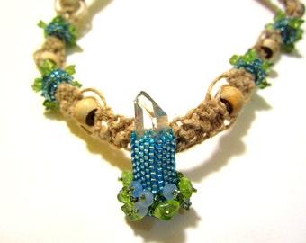 Raw Quartz Crystal Hemp Necklace with Peridot and Angelite--Aqua Healing Stone Beaded Bead Necklace