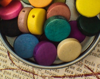 25 Eco Friendly Wooden Coin Beads 15mm - A Rainbow of Colors