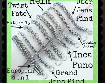 SALE Half Price Stainless Steel Craft Faire Kit - EIGHT Bracelets - DIY Chainmaille - Custom Hand Made Jump Rings and Forged Clasps