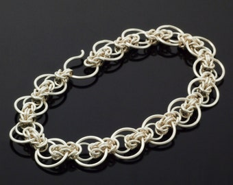 Petite Intermediate Staggered Byzantine Bracelet Kit or Ready Made - Unique Chainmaille Style in Non Tarnish Silver Plate