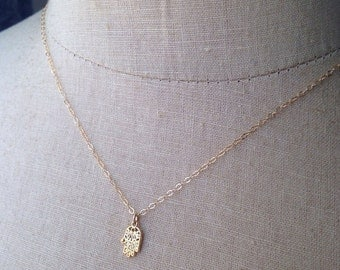 Gold Hamsa Necklace, Tiny Hamsa, Dainty Hamsa, Protection Charm, Hand of God, Hand of Fatima, Hand Charm, Hamsa Necklace, Silver Hamsa,Hamsa