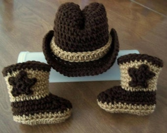 Crocheted COWBOY baby Hat & Boots, coffee brown Newborn to 3 months PHOTO PROP Custom boy girl