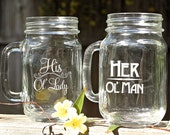Anniversary Gift, Wifey and Hubby Mugs, Hubby and Wifey Mugs,Old Man Old Lady,Gift Set,Old man Old Lady,Funny Gift, Couples Gift,Mason Jars