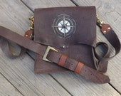Rustic Dark Brown Leather Cross Body Bag Handmade British Tan Accents unisex windrose compass vintage buckle detachable long strap