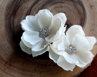 Emma-Set of Two Ivory Hair Flowers with Rhinestone Centers