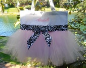 Childs Embroidered Tote Bag - White Dance Bag -  MINI Bag with Pink Tulle and Black and White damask Ribbon Tutu Tote Bag - MTB158 - BP