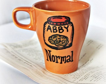 Abby Normal, Funny Mug, coffee cup, tea cup, orange, black, halloween, brain