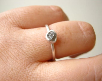 Rough Diamond Ring with Black Diamond, Charcoal grey Diamond- Hand made in Sterling Silver