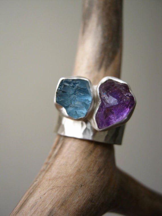 Duo Birthstone Ring Set, Choose Your Rough stones Sterling Silver - Made for You and Your Second Half - One Duo ring & One hammered band
