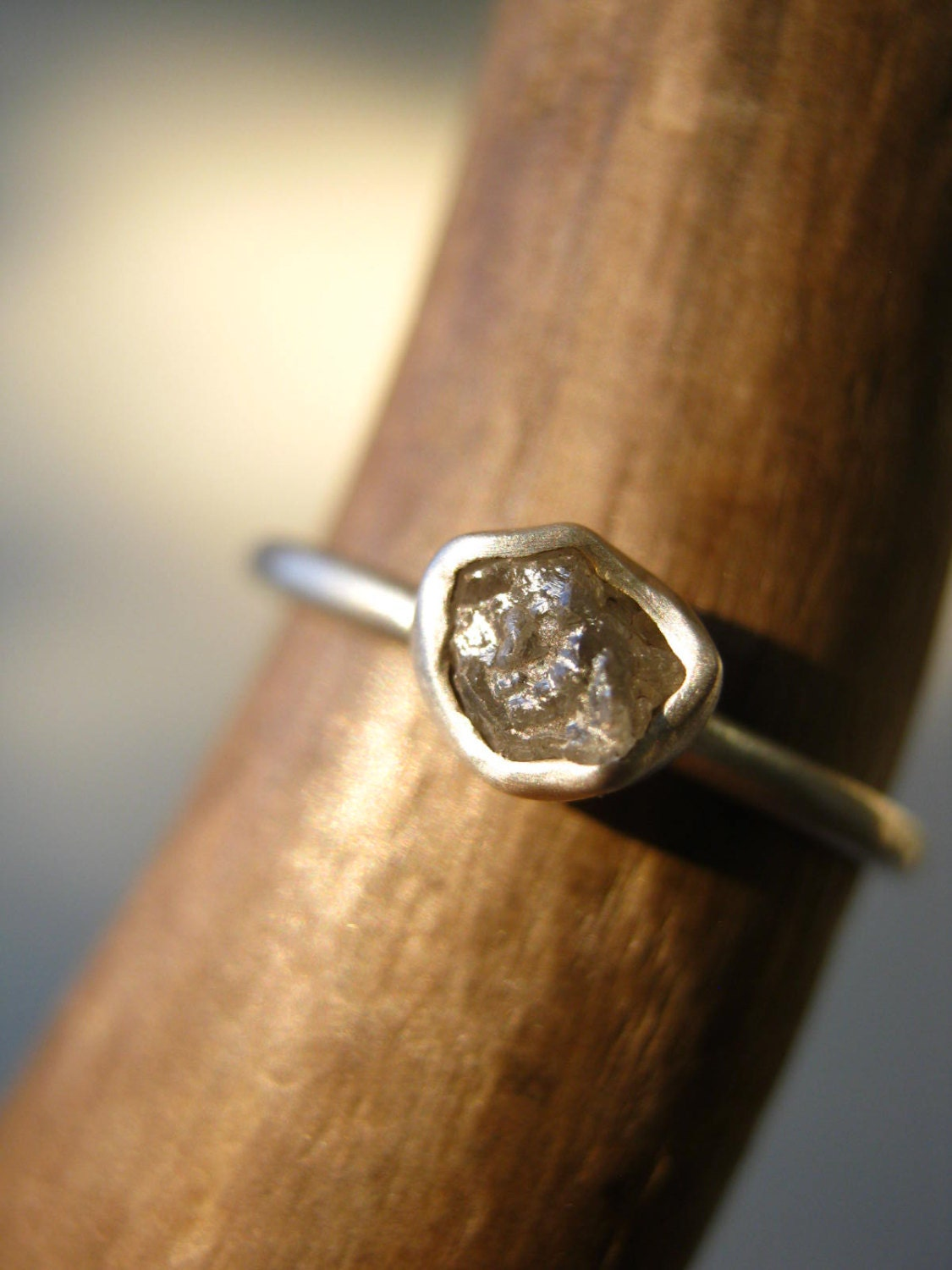 Rough diamond engagement ring sterling silver small for Tiny wedding ring