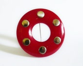 Vintage Cherry Red Bakelite Brooch Red Circle with Brass Studs