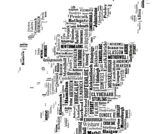 Scotland United Kingdom Map Typography Map Poster Print Text Map