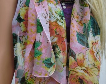 Pink Chiffon shawl with with promise of Love, pool cover up,chiffon,oversized scarf,colorful shoulder wrap-Only one available