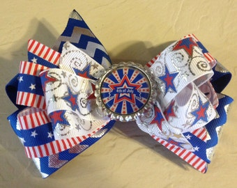 July 4th Patriotic Boutique Hair Bow
