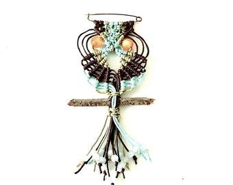 Macrame Owlet Brooch~Owl Pin~70s Style