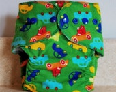 Fitted Small Cloth Diaper- 6 to 12 pounds- Cars on Green