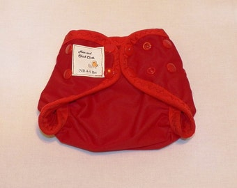 Preemie Newborn PUL Diaper Cover with Leg Gussets- 4 to 9 pounds- Red- 20007