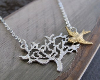 Bird Tree Necklace Pendant, Silver Tree Gold Bird Necklace, Modern Vintage Mixed Metal - IN A TREE
