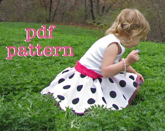 PDF Twirly Whirly Circle Skirt Pattern for Babies, Toddlers, Girls Sizes 6-9m, 12-18m, 2t, 3t, 4t, 5t, 6, 7, 8, 10 & 12 - Instant Download
