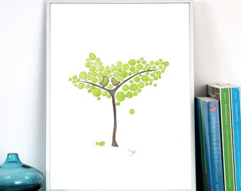 Wedding Gift Anniversary Gift - Green Young Tree - Giclee Art Print Reproduction of Watercolor Painting - Trees of Life Collection