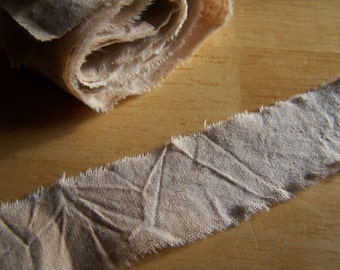 Tea Stained Muslin Ripped Fabric Ribbon