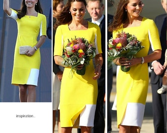 kate middleton/ modern wiggle pencil look colorblock dress custom made all size