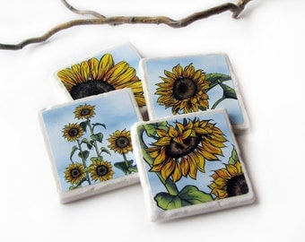 Yellow Sunflower Decorative Ceramic Tile Coasters, Country Home Decor