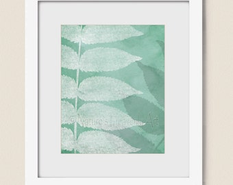 Tree Leaves Teal 8 x 10 Nature Wall Art Leaf Print for Living Room Decor, Blue Green (293)