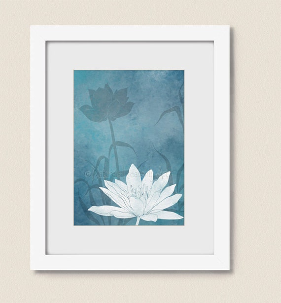 Yoga Wall Light : 5x7 Light Blue Room Decor Yoga Wall Decor Lotus Bathroom or