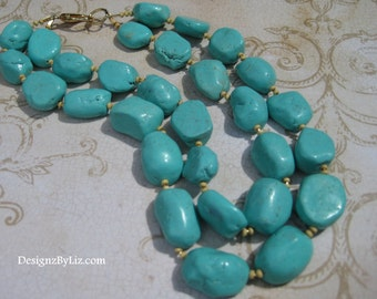 The Stone Age, multistrand necklace with turquoise stones