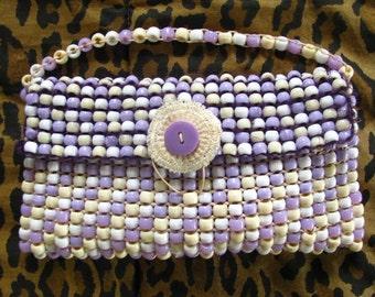 SALE Lavender & Cream Woven Bead Modern Clutch Purse