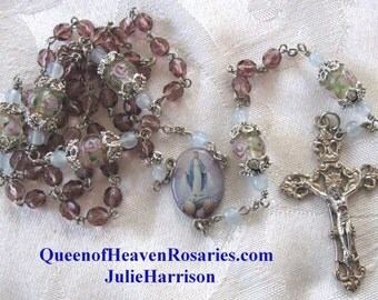 Purple Amethyst Glass Rosary