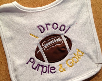 I Drool Purple and Gold personalized tiger bib football. Can be changed to your team colors.