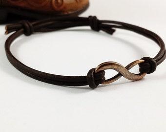 Infinity Bracelet - Copper and Leather Adjustable Infinity Bracelet