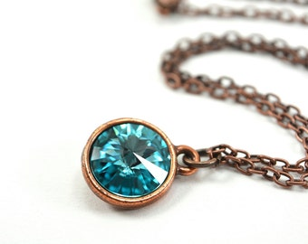 Light Turquoise Necklace Crystal Pendant Necklace Circle Antiqued Copper Necklace Modern