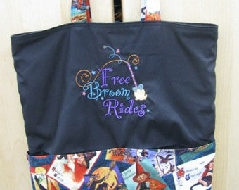 Free Broom Rides Witch Halloween Tote or Eco Friendly Purse Grocery or Shopping Bag