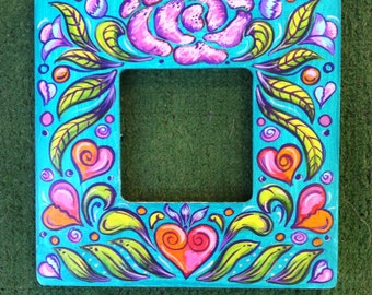 Blue Floral and Hearts Painted Wooden Frame