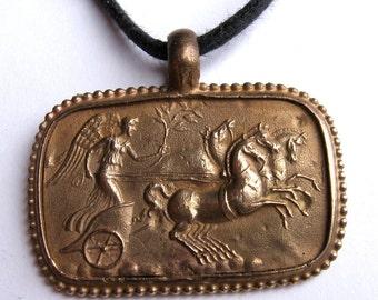 Greek Bronze Chariot Race Pendant Mother's Day
