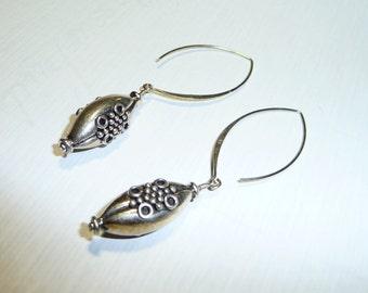 Sterling Silver Bali Beads Long Dangle Earrings on Etsy