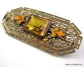 Art Deco Czech Brass Filigree Brooch with Topaz Glass and Enamel