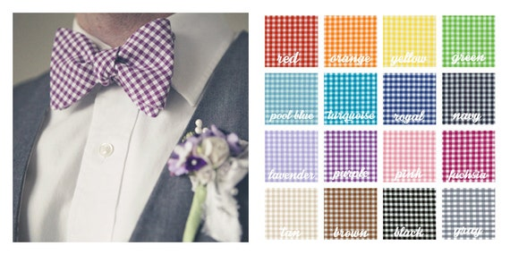 The Beau- men's gingham collection freestyle self-tie bow ties- 16 shades to choose from