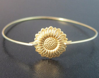 Sunflower Bracelet, Sunflower Jewelry, Gold, Sunflower Bangle, Sun Flower Jewelry, Sun Flower Bracelet, Sun Flower Jewlery