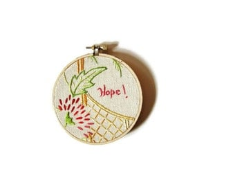 Hoop art vintage pink red floral yellow net off white linen