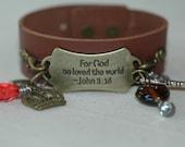 John 3:16 Bracelet , Leather Cuff Charm Bracelet , Cross Charm Bracelet , Statement Cuff