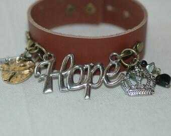 Hope Bracelet , Leather Cuff Charm Bracelet With Hope ; Awareness Bracelet ,  Leather Charm Bracelet , Statement Cuff