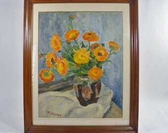 Orange Flowers in Vase Original Oil Painting with Wooden Frame